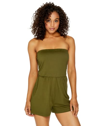 sale  Luciana Strapless Romper at Guess