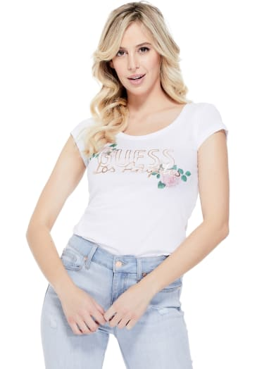 women  Ruth Graphic Logo Tee at Guess