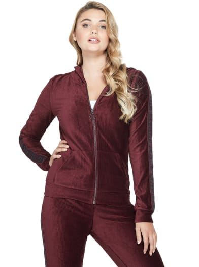 sale  Andrea Ribbed Velour Hoodie at Guess