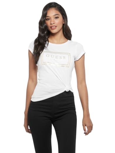 women  Boe Mesh Logo Tee at Guess