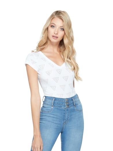 women  Rovin Triangle Logo Tee at Guess