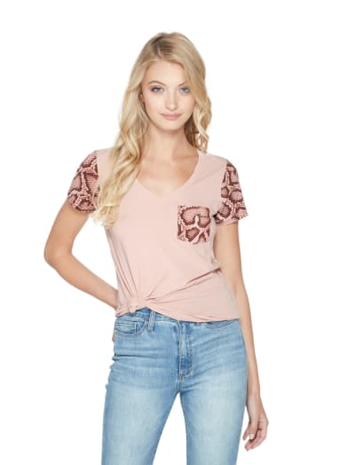 women  Knox Snake-Trim Tee at Guess