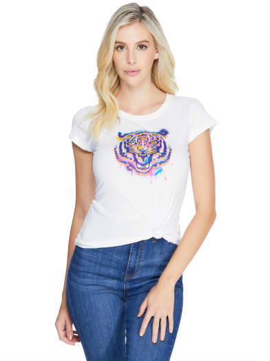 women  Teo Tiger Graphic Tee at Guess