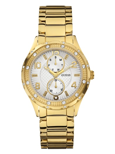 women  Gold-Tone Multifunction Watch at Guess