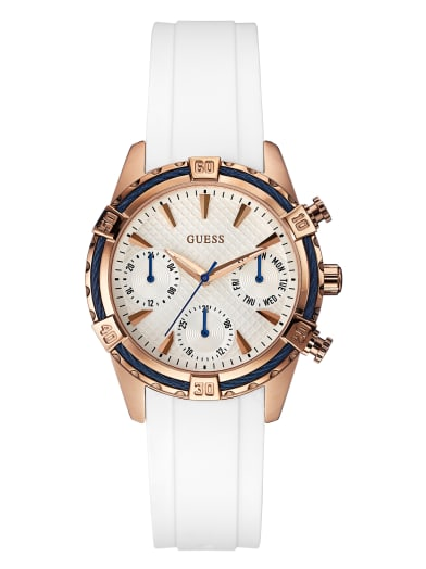 sale  White And Rose Gold-Tone Multifunction Watch at Guess