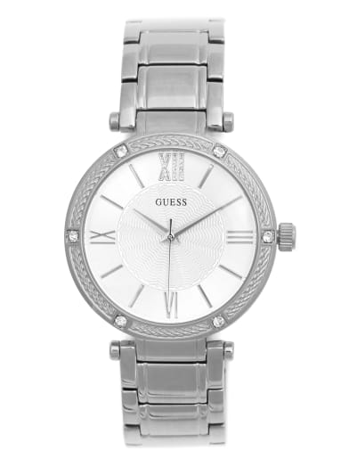 women  Silver-Tone Analog Watch at Guess