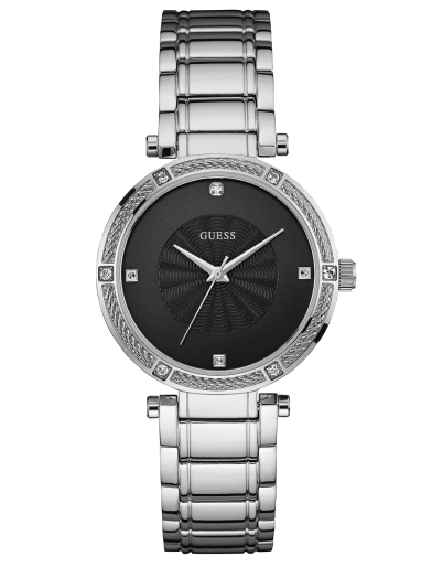 women  Silver-Tone Modern Classic Watch with Diamonds at Guess