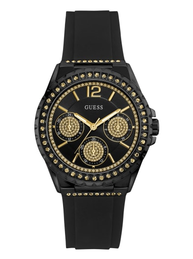 sale  Black And Crystal Multifunction Watch at Guess