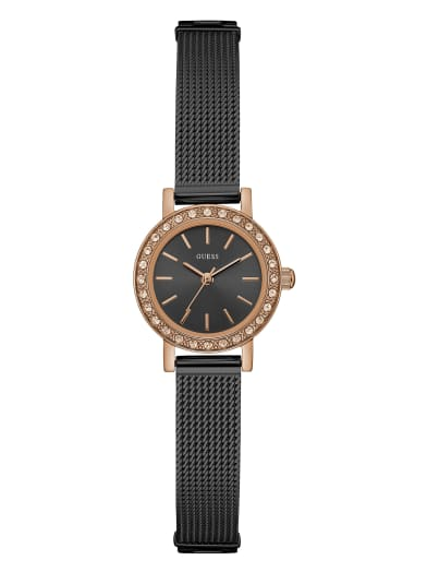 women  Black And Rose Gold-Tone Mini Analog Watch at Guess