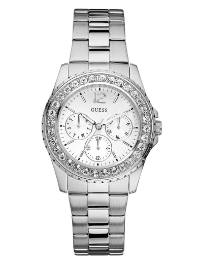 women  Silver-Tone Multifunction Watch at Guess