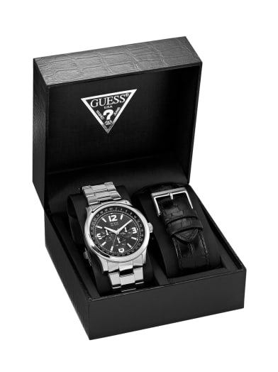 men  Silver-Tone Multifunction Watch Box Set at Guess