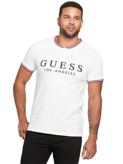 men  Sid Logo Henley Tee at Guess