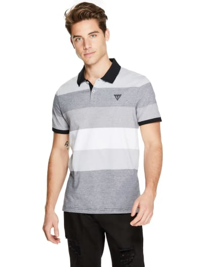 sale  Ronald Color-Block Striped Polo at Guess
