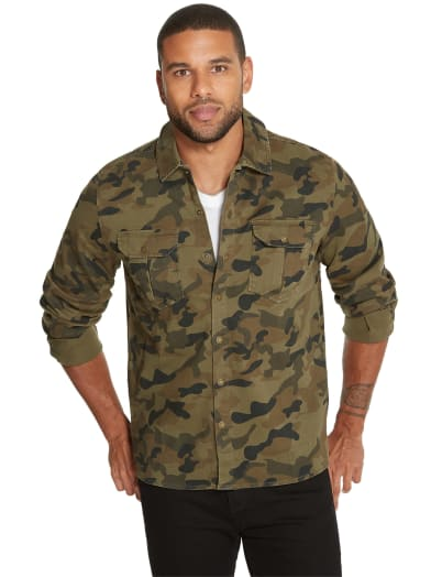 men  Niles Camo Shirt Jacket at Guess