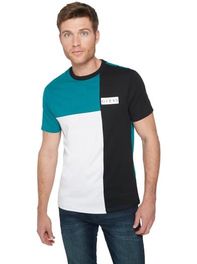 men  Mozer Color-Block Logo Tee at Guess