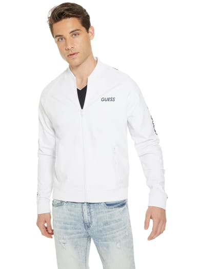 men  Pace Logo Tape Zip-Up Bomber at Guess