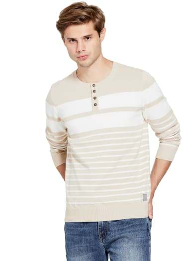 sale  Kevin Striped Henley Sweater at Guess
