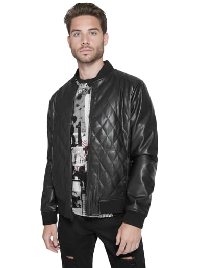 men  Brigham Quilted Bomber at Guess