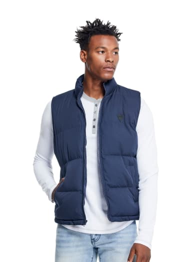 men  Erik Logo Puffer Vest at Guess