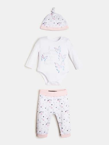 Completo 2 Body Pantalone bavetta Fascia per Capelli neonata Guess