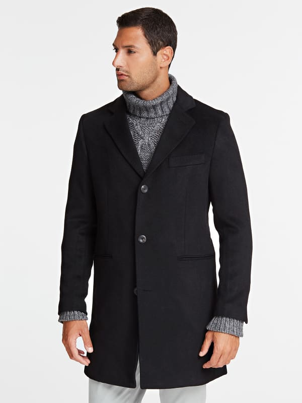 Manteau droit laine melangee marciano