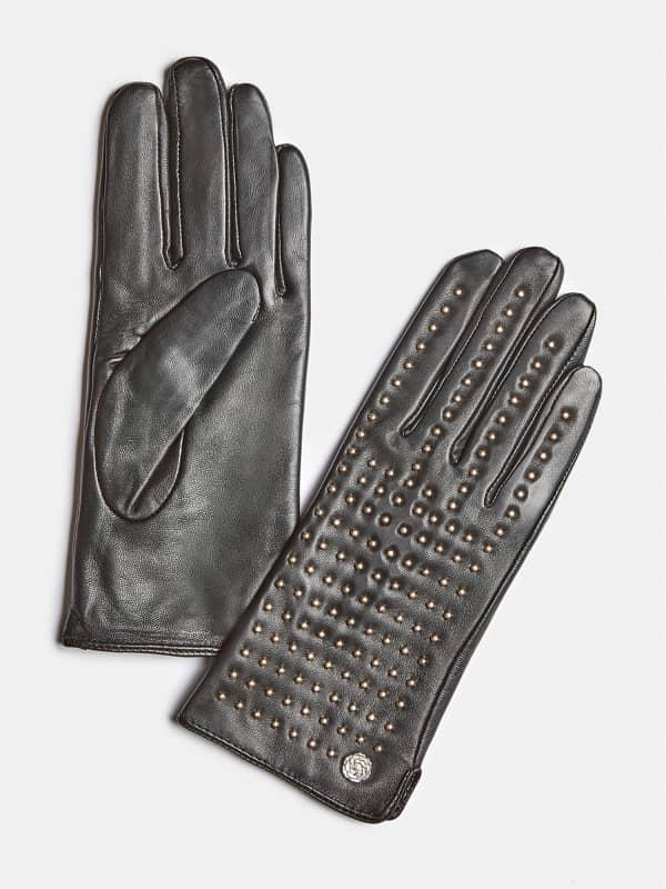 GUESS Handschuhe Echtes Leder Nietenapplikationen