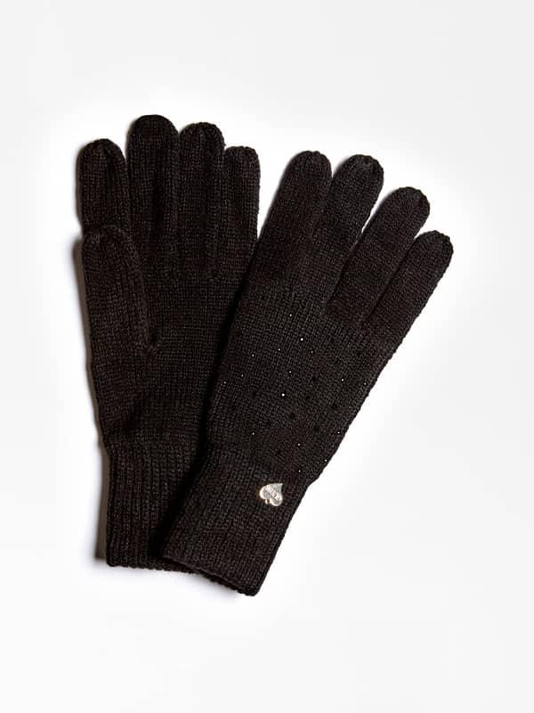 GUESS Handschuhe Strass-Applikationen Logo