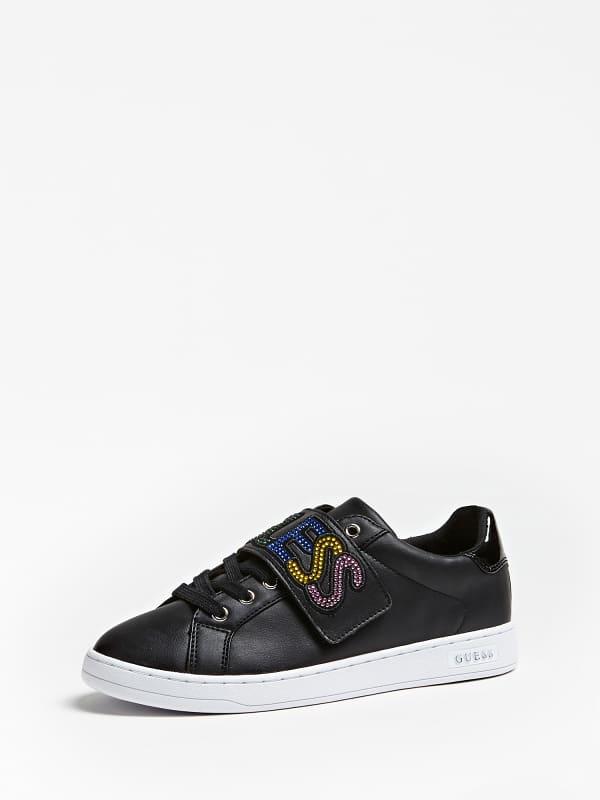Sneaker chex bande scratch strass