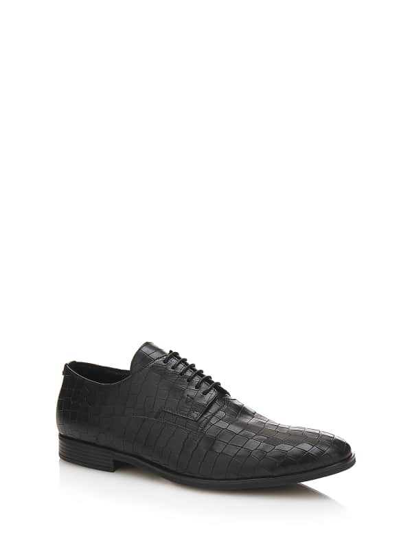 Chaussure A Lacets Effet Croco