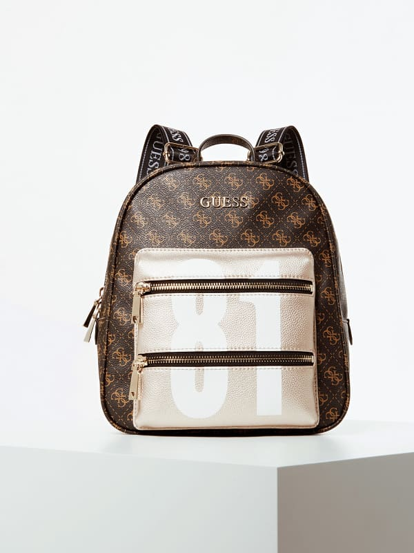 GUESS Rucksack Caley 4G-Logo Tasche In Metallic-Optik