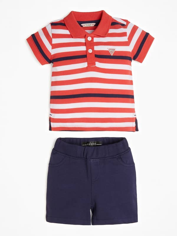 Polo Et Pantalon Court Rayé