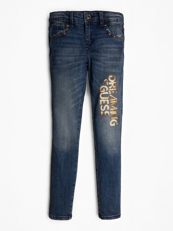 GUESS Jeans Used-Optik Pailletten Nieten