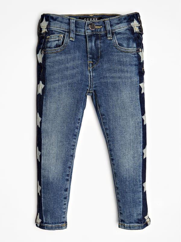 GUESS Jeans Used-Optik Streifen Sternen