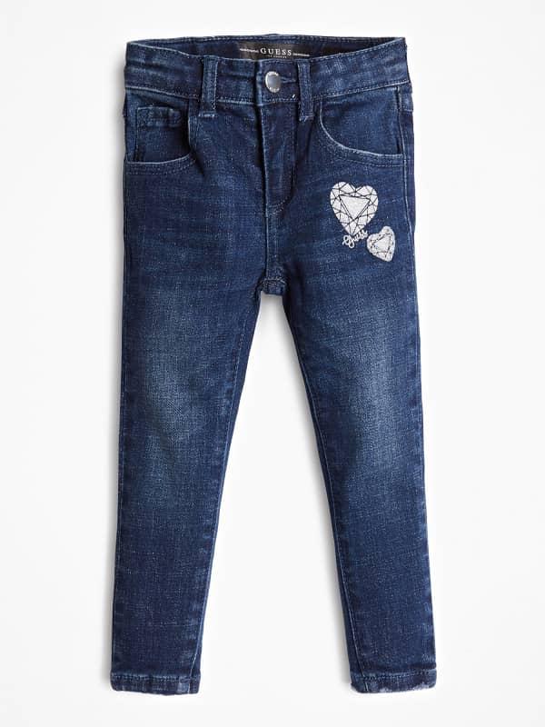 GUESS Jeans Denim Used-Optik Herz Mit Logo