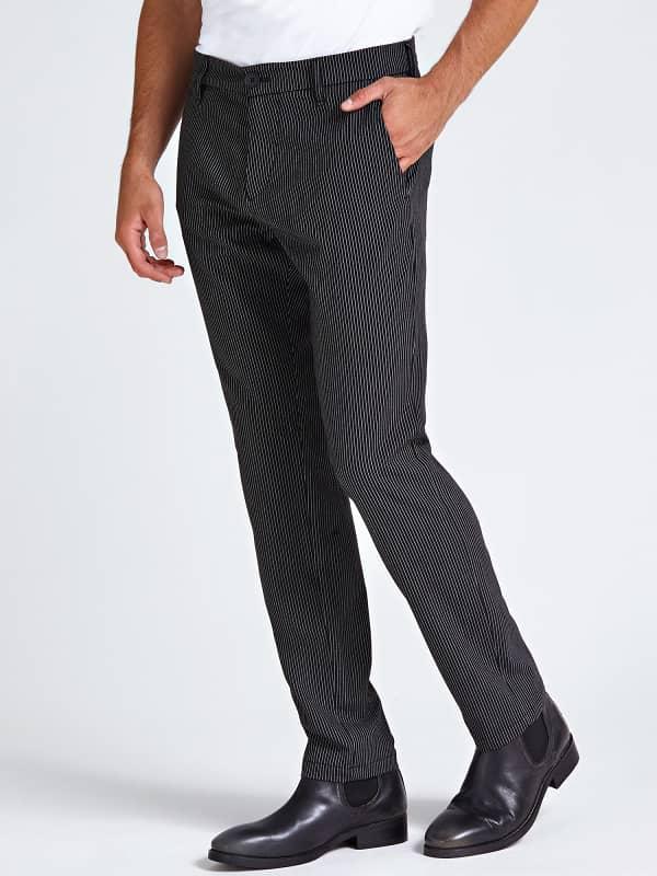 Pantalon chino motif rayé