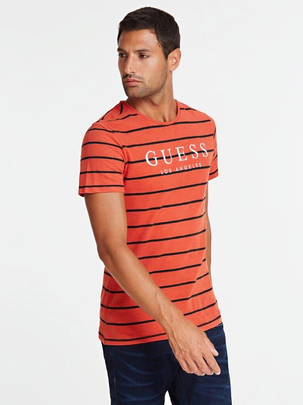 T shirt motif a rayures logo