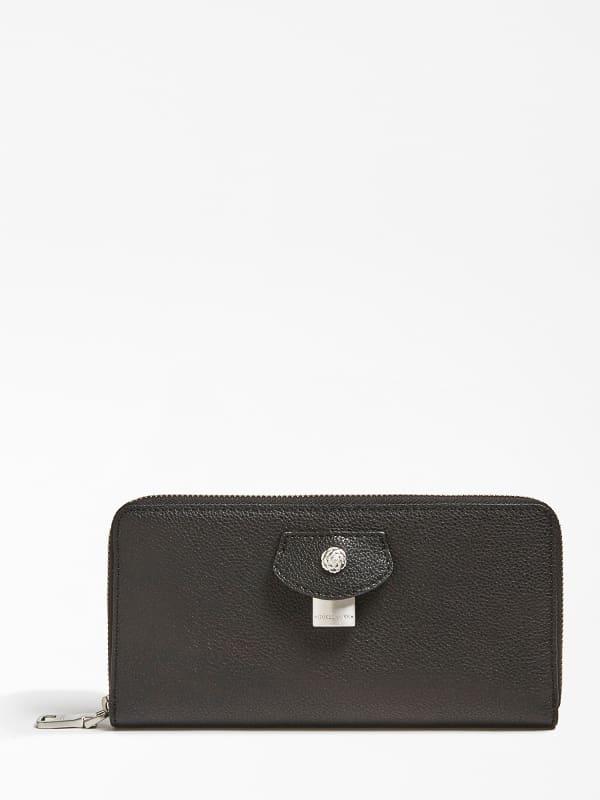 Brieftasche Aus Leder Olivia | Accessoires > Portemonnaies > Brieftaschen | Schwarz | Metall - Leder | Guess