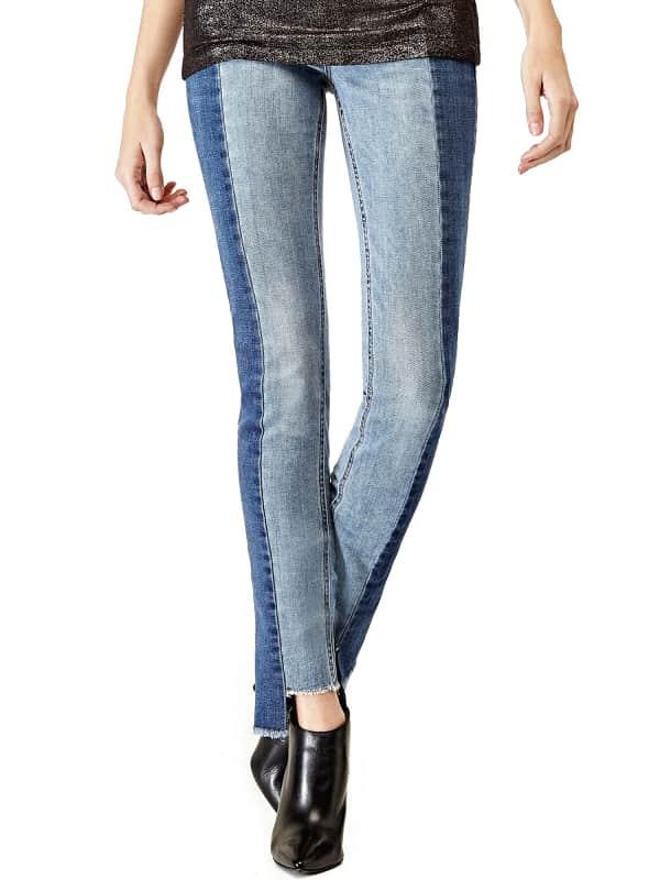 GUESS Zweifarbige Jeans Saum Asymmetrisch