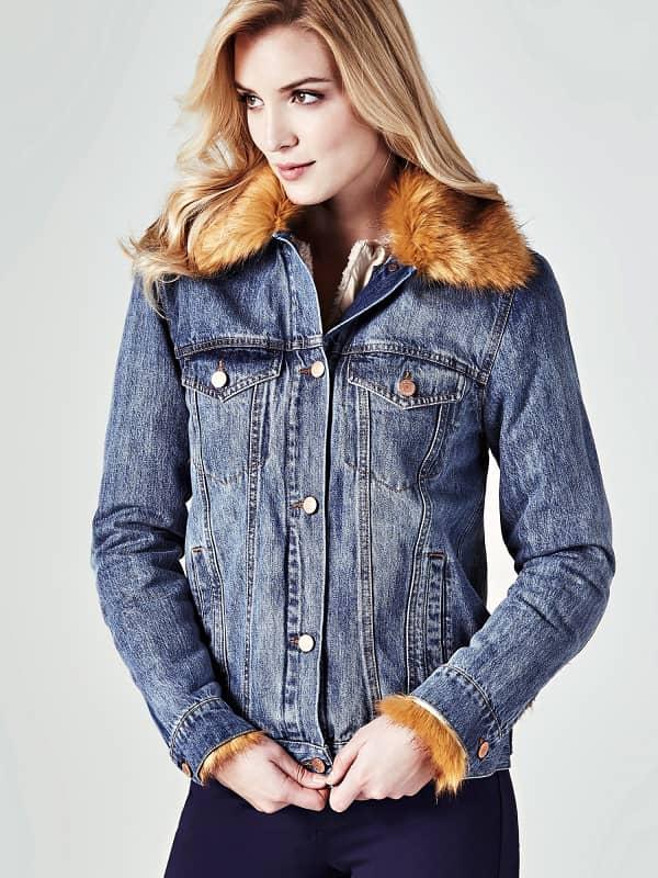Jeansjacke Kunstfell | Bekleidung > Jacken > Jeansjacken | Blau | Modacryl - Polyacryl | Guess