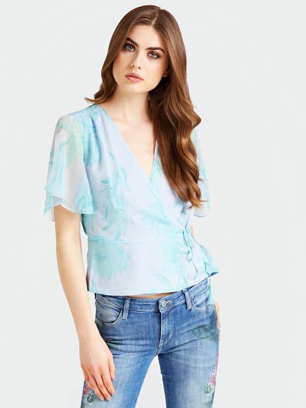 Bluse Aus Seide Kimonostil | Bekleidung > Homewear > Kimonos | Guess