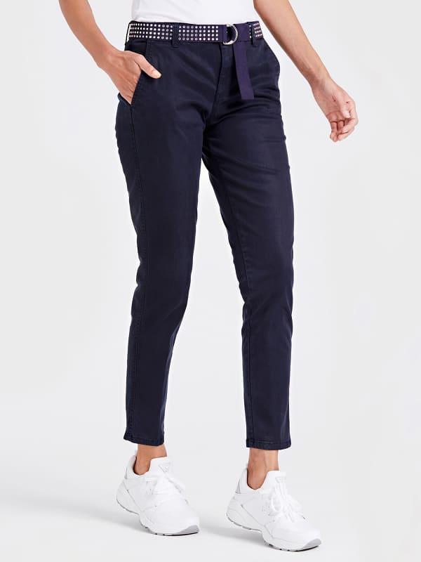Pantalon chino ceinture cloutee
