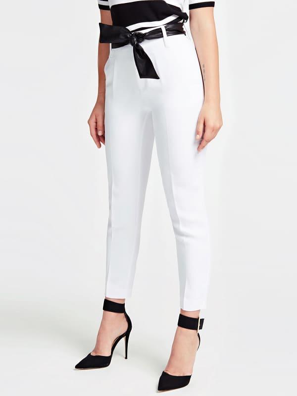 Pantalon ceinture effet enduit