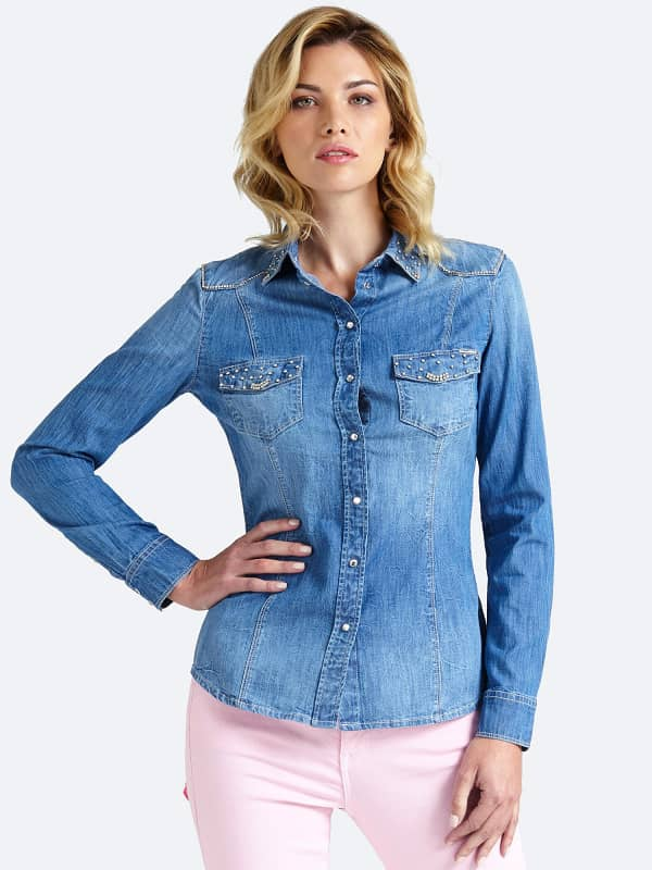 Jeansbluse Used Applikationen - Guess