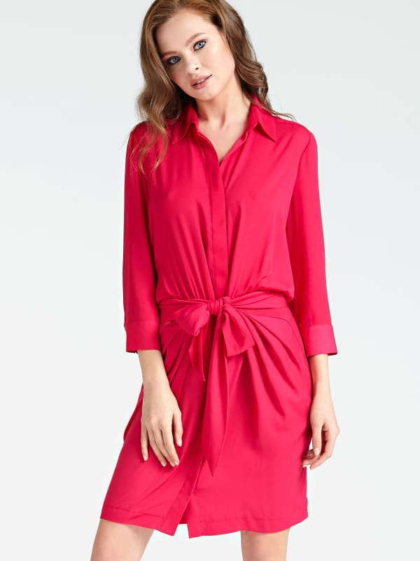 Guess 3/4-Length Sleeve Knot Front Dress
