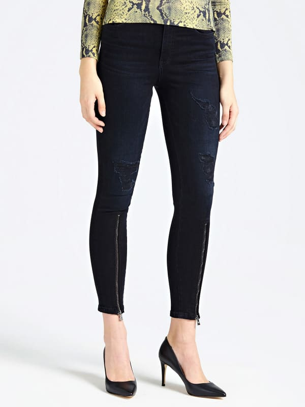 Jean abrasions glissieres frontales