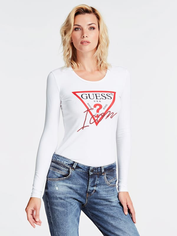 GUESS T-Shirt Logo Strassapplikationen