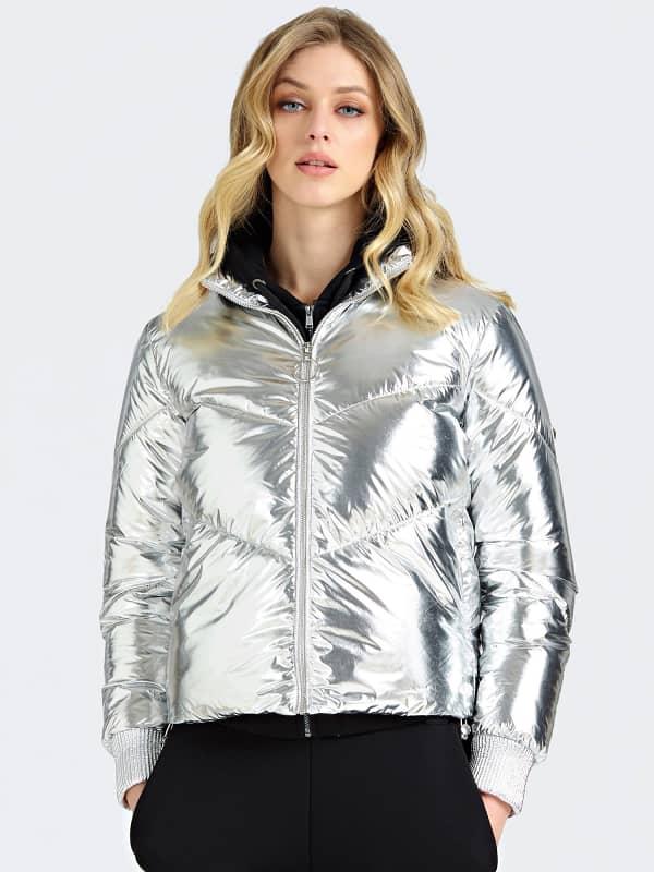 Wattierte Jacke Metallic-Optik   Bekleidung > Jacken   Silber   Guess