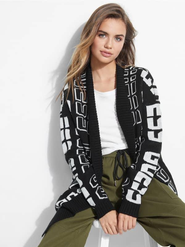 Cardigan en laine logo all over