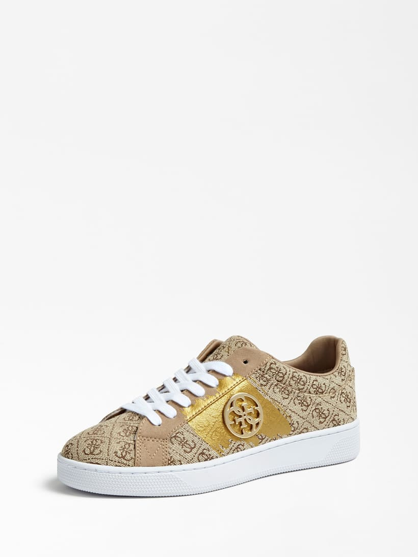 Guess Reima Beibr Gold Logo Womens Trainers Shoes