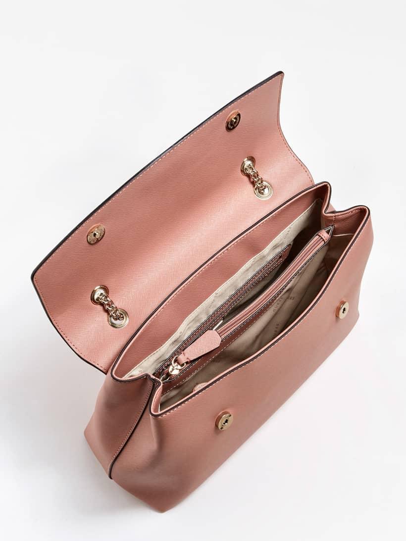 Dettagli su GUESS AI 20 borsa a spalla ROBYN effetto saffiano doppio manico con catena